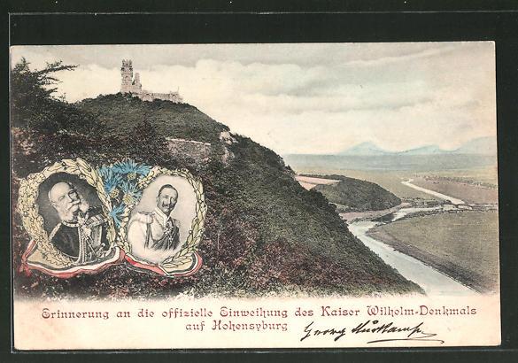 AK Einweihung des Kaiser Wilhelm-Denkmals, Kaiser Wilhelm I., Kaiser Wilhelm II.