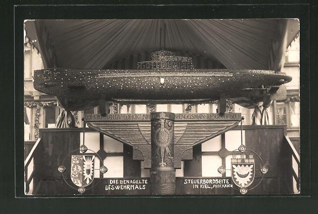 AK Kiel, benagelte Steuerbordseite des Wehrmals, U-Boot, Kriegshilfe, Nagelung