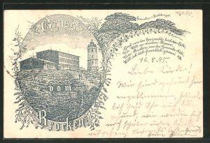 Vorläufer-Lithographie Brocken, 1895, Brockenhotel, Ganzsache PP9 F229