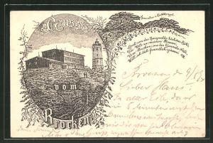Vorläufer-Lithographie Brocken, 1894, Brockenhotel, Ganzsache PP9 F229