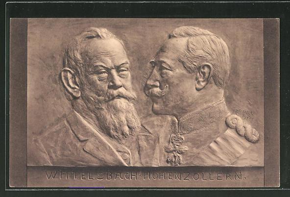 AK Porträt von Prinzregent Luitpold von Bayern in einen Stein gemeisselt