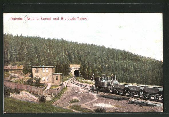 AK Blankenburg, Bahnhof Braune Sumpf und Bielstein-Tunnel, Harz-Zahnrad-Bahn, Kleinbahn