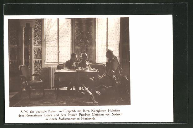 AK Prinz Georg von Sachsen und Prinz Friedrich Christian im Gespräch mit dem deutschen Kaiser