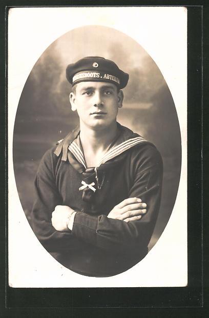 Foto-AK Porträt Matrose in Uniform, U-Boot-Fahrer
