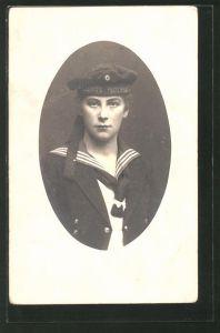 Foto-AK Porträt eines Matrosen in Uniform, U-Boot-Fahrer 0