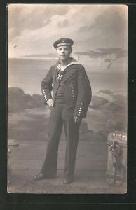 Foto-AK Matrose in Uniform, U-Boot-Fahrer 0