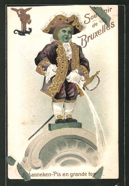 Präge-Lithographie Brüssel, Manneken-Pis uriniert von einem Stein herunter, Toilettenhumor