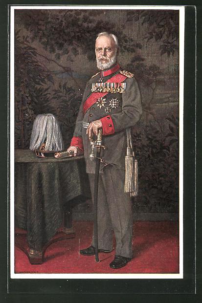 AK König Ludwig III. von Bayern in Uniform steht an einem Tisch