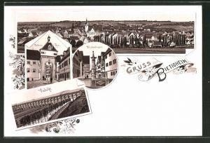 Lithographie Bietigheim, Unteres Thor, Viadukt und Fräuleinsbrunnen