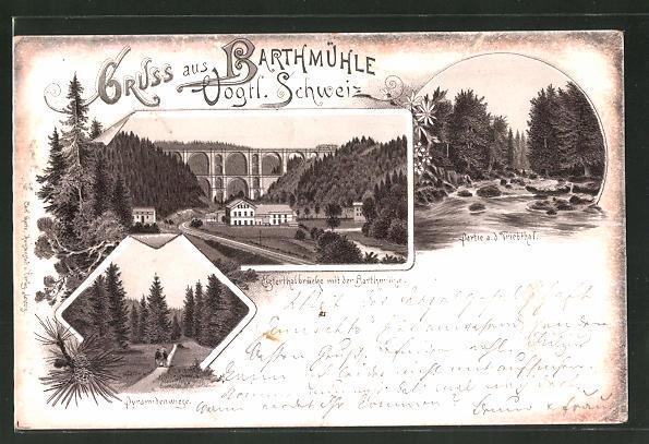 Lithographie Barthmühle, Pyramidenwiese, Elsterthalbrücke mit der Barthmühle und Partie a. d. Triebthal