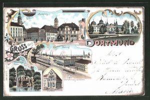 Lithographie Dortmund, Blick auf Marktplatz, Fredenbaum und Bahnhof