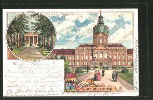 Lithographie Berlin-Charlottenburg, Königliches Schloss Charlottenburg, Mausoleum