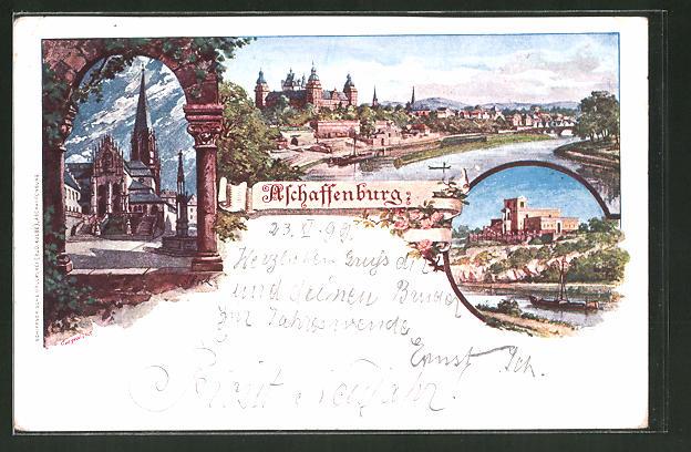 Künstler Aschaffenburg künstler ak aschaffenburg ortsansicht mit blick auf den