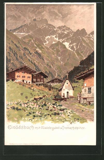 Lithographie Einödsbach, Gasthof mit Blick auf Mädelegabel und Trettachspitze