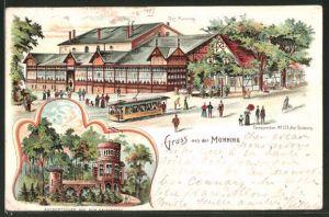 Lithographie Duisburg, Gasthaus Monning, Strassenbahn, Aussichtsturm auf dem Kaiserberg