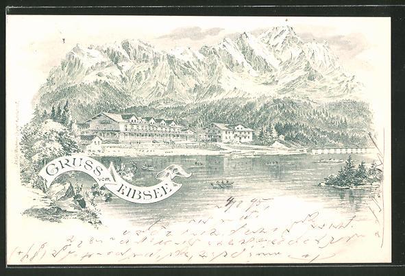 Vorläufer-Lithographie Eibsee, 1895, Panorama mit Gebirge