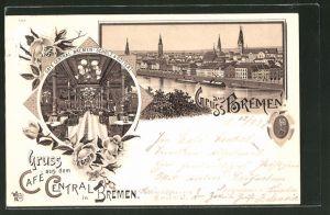 Lithographie Bremen, Cafe Central Innenansicht, Teilansicht mit Kirchen