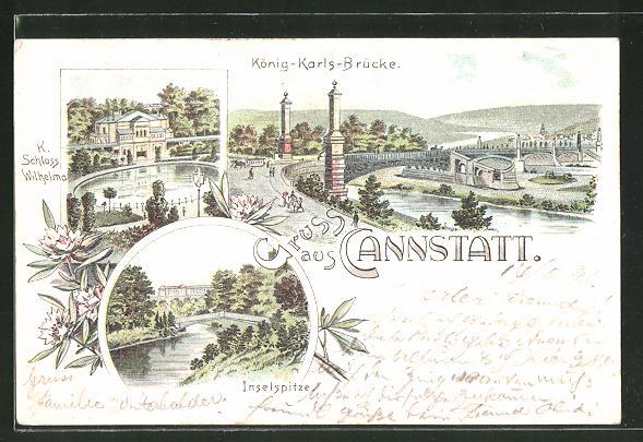 Lithographie Cannstatt, Blick auf die König-Karls-Brücke, Schloss Wilhelma und Inselspitze
