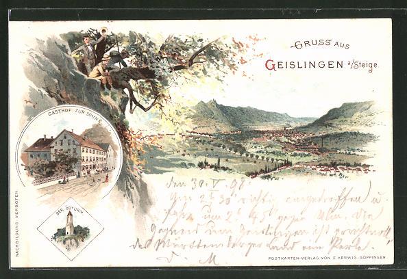 Lithographie Geislingen a. Steige, Totalansicht, Gasthaus zur Sonne, Ödturm