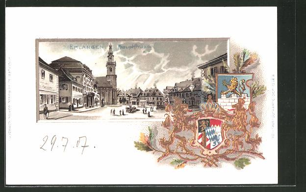 Passepartout-Lithographie Erlangen, Blick in die Hauptstrasse