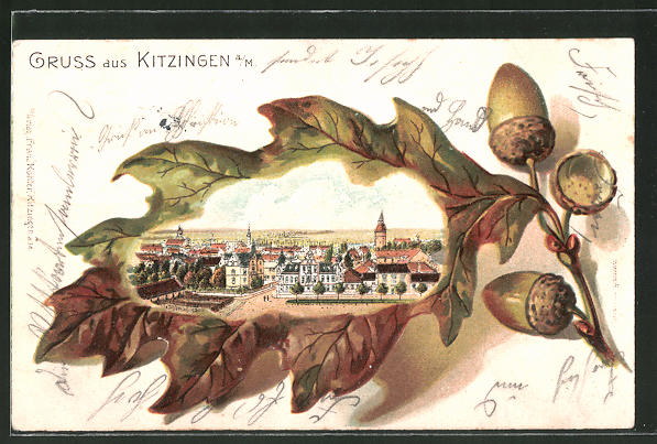Passepartout-Lithographie Kitzingen, Panorama im Eichenblatt