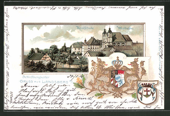 Passepartout-Lithographie Landsberg, Ortsansicht mit Realschule und Malteser, Stadtwappen