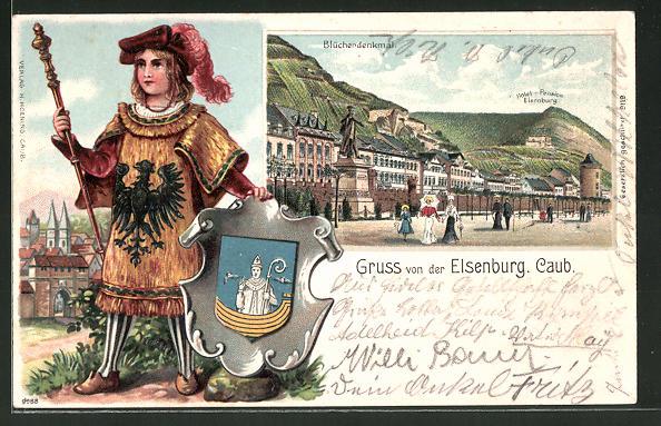 Passepartout-Lithographie Elsenburg, Ortspartie mit Blücherdenkmal, Knabe mit Wappen