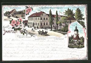 Lithographie Imnitz, Gasthof zum Bergschlösschen, Kirche, Königl. Beschäl-Station
