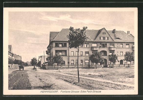 AK Hennigsdorf, Blick in die Fontane-Strasse Ecke Feld-Strasse