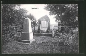 AK Bojiste, Denkmal des k. k. Preuss. 5. Inf. Reg. Oberst Baron Binder, Pomnik pruske pesi Brigady c 5. Plukovnik Baron