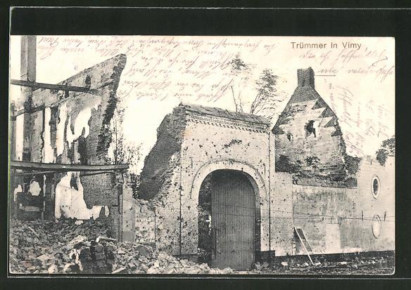 AK Vimy, Ortspartie in Trümmern