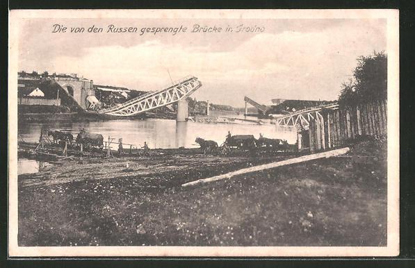 AK Grodno, eine von den Russen gesprengte Brücke