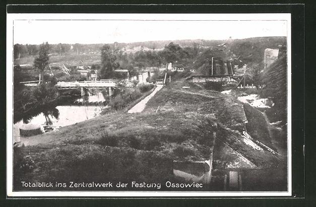 AK Ossowiec, Totalansicht ins Zentralwerk Kehlgraben
