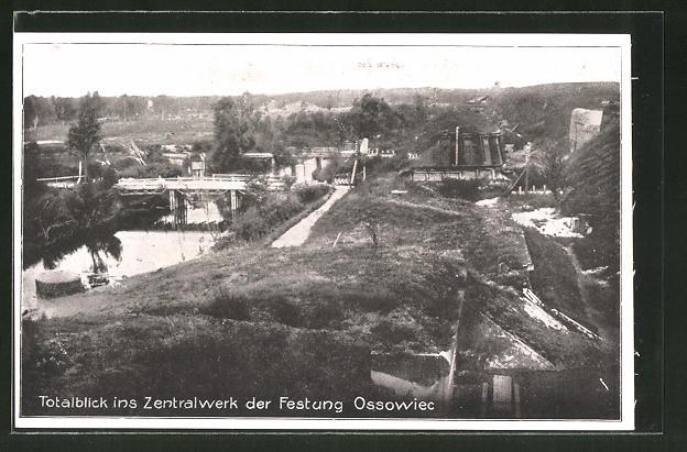 AK Ossowiec, Totalansicht ins Zentralwerk Kehlgraben der Festung