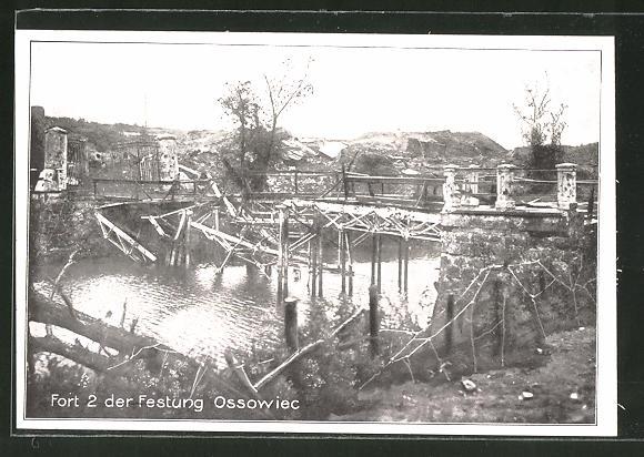 AK Ossowiec, zerstörte Kehlbrücke im Fort 2 der Festung