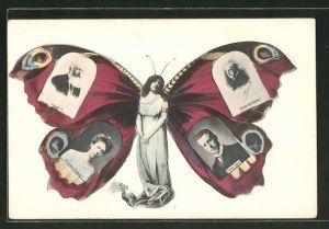 AK Frau mit Schmetterlingsflügeln, Porträts Prinz Albert und Prinzessin Elisabeth von Belgien