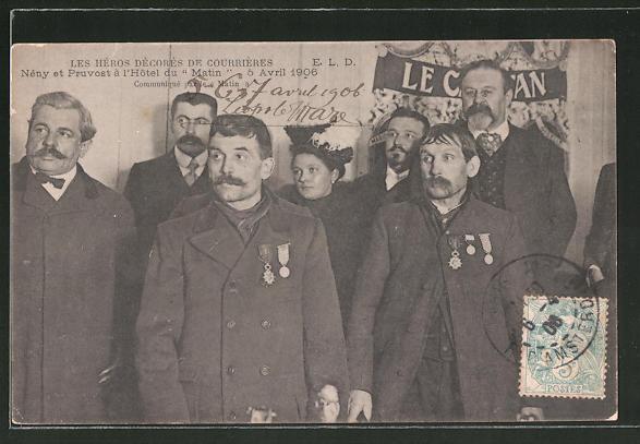 AK Courrieres, Ehrung der Lebensretter vom Grubenunglück 1906