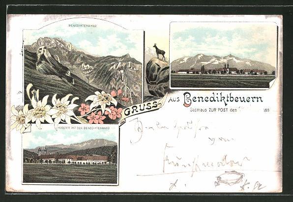 Lithographie Benediktbeuern, Gasthaus zur Post, Kloster mit der Benediktenwand, Gemse