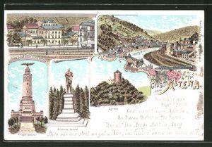 Lithographie Altena, Bahnhof, Bismarck-Denkmal, Schloss