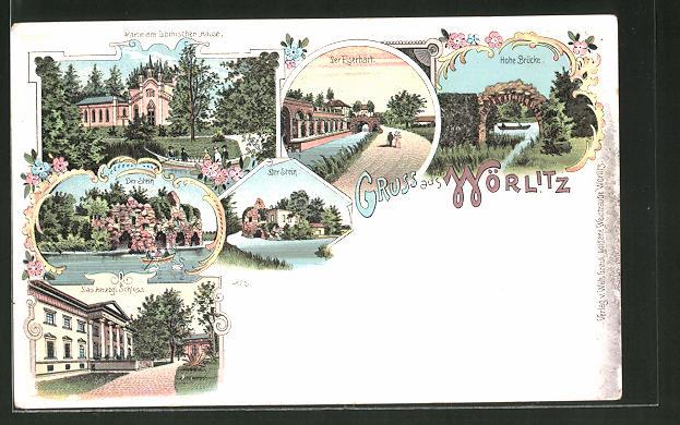 Lithographie Wörlitz, Gothisches Haus, herzogl. Schloss, Eisenhart