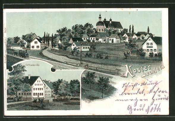 Lithographie Kloster Lechfeld, Ortsansicht, Gasthaus zur Post