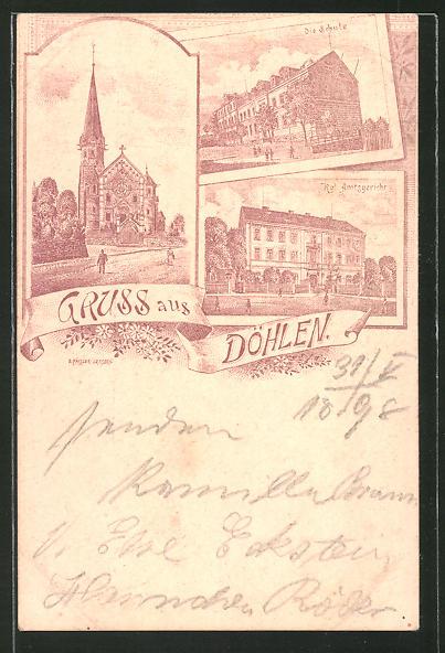 Lithographie Döhlen, Schule, Kgl. Amtsgericht, Strassenpartie an der Kirche