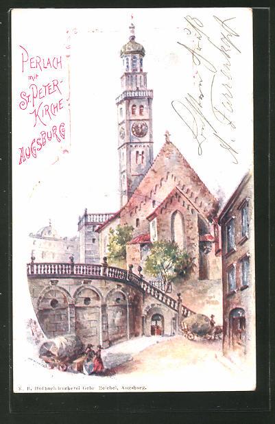 Künstler-AK Augsburg, Perlach mit St. Peter-Kirche