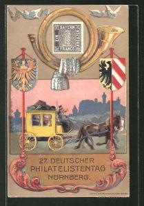 AK Nürnberg, 27. Dt. Philatelisten-Tag 1921, Flugpostkarte, Postkutsche, Briefmarke