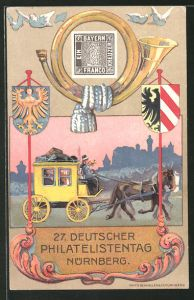 AK Nürnberg, 27. Dt. Philatelisten-Tag 1921, Stempel Flugpost, Postkutsche, Briefmarke, Ganzsache