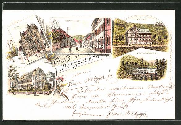 Lithographie Bergzabern, Gasthaus Engel, Schloss, Kurhaus Westenhöfer