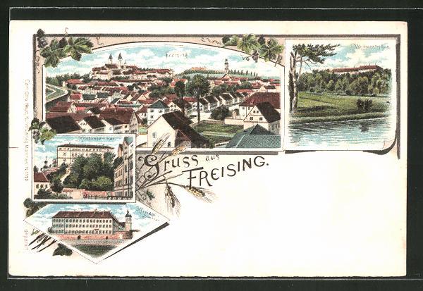 Lithographie Freising, Gesamtansicht, Knabenseminar, Weihenstephan