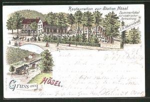 Lithographie Hösel, Restauration zur Station Hösel, Bahnhof