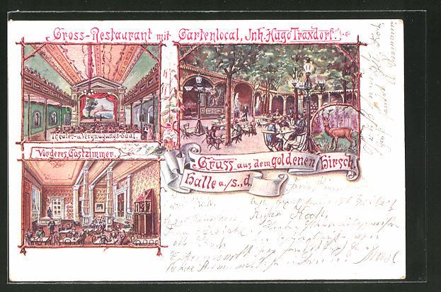 Lithographie Halle a. S., Restaurant & Gartenlokal goldener Hirsch
