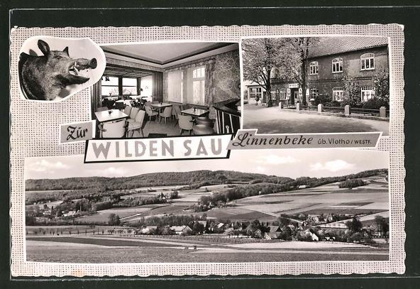 AK Linnenbeke, Gasthaus zur wilden Sau, Totalansicht